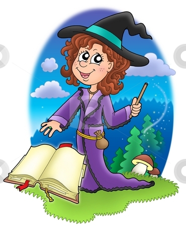 Cute witch with wand and book stock photo, Cute witch with wand and book - color illustration by Klara Viskova