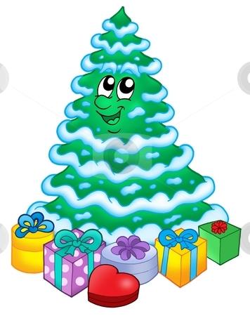 Snowy Christmas tree with gifts stock photo, Snowy Christmas tree with gifts - color illustration. by Klara Viskova