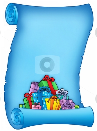 Blue parchment with pile of gifts stock photo, Blue parchment with pile of gifts - color illustration. by Klara Viskova