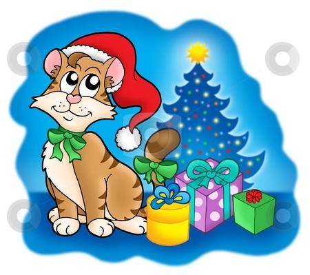 Cat with Christmas tree and gifts stock photo, Cat with Christmas tree and gifts - color illustration. by Klara Viskova