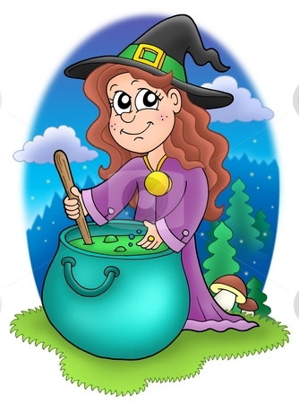 Cute witch with kettle stock photo, Cute witch with kettle - color illustration by Klara Viskova