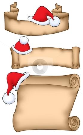 Various Santa Claus parchment stock photo, Various Santa Claus parchment - color illustration. by Klara Viskova