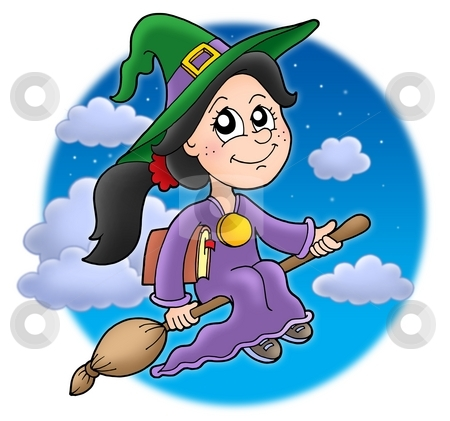Cute witch on broom stock photo, Cute witch on broom - color illustration by Klara Viskova