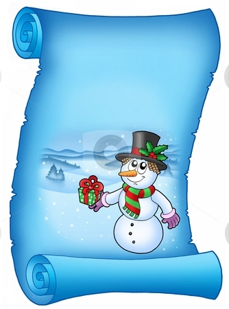 Blue parchment with Christmas snowman stock photo, Blue parchment with Christmas snowman - color illustration. by Klara Viskova