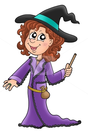 Cute witch with wand stock photo, Cute witch with wand - color illustration by Klara Viskova