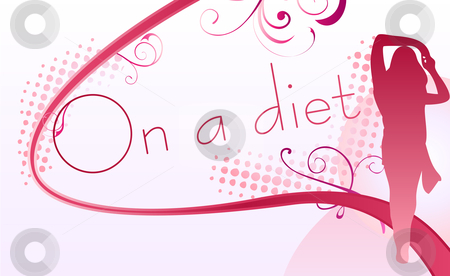 On a diet stock vector clipart, Girl silhouette over an on a diet sign by Augusto Cabral Graphiste Rennes