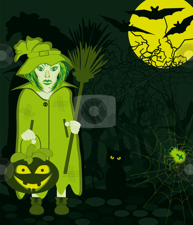 Bewitched at night stock vector clipart, Creepy witch at night with moon and bats and cat in the forest by Karin Claus