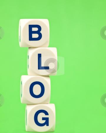 Blog on Green Background stock photo, Tiles spelling blog on a green background by John Teeter