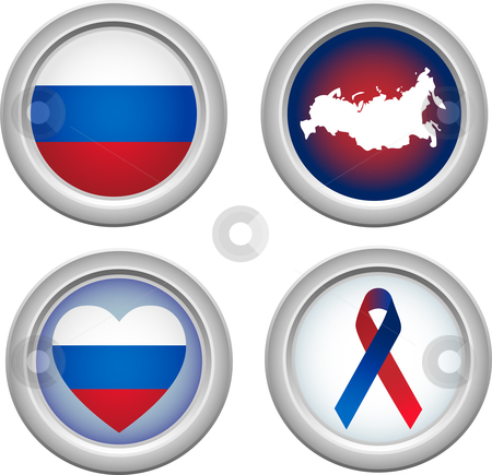 Buttons Russia stock vector clipart, Russia buttons with map, flag, ribbon and heart by Augusto Cabral Graphiste Rennes