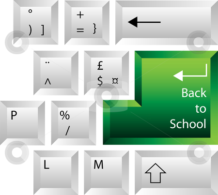 Back to School Keyboard stock vector clipart, Creative keyboard with back to school key on return by Augusto Cabral Graphiste Rennes