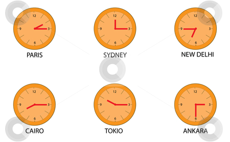 Clock stock vector clipart, World times and clocks for education by Chris Willemsen