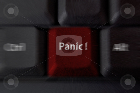 Panic / help key stock photo, Computer keyboard with panic button. Zoomed in to emphasise the emotion of fear or panic. by Jeff Carson