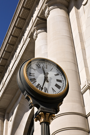 Station Clock stock photo, Old clock outside Union Station in Kansas City by Bart Everett