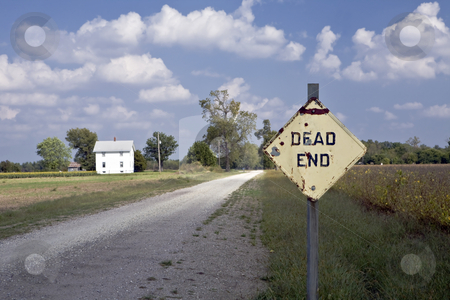 Dead End stock photo, Dead End sign guards a lonely gravel road in rural Kansas by Bart Everett