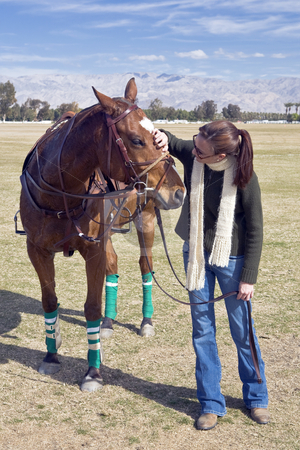 Woman with Polo Horse stock photo, Young woman pets a polo horse before a match. by Bart Everett