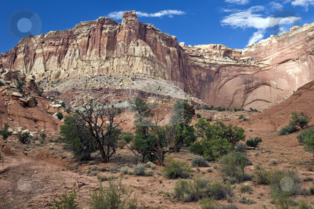 Capitol Reef Bluffs Wash stock photo, Rugged bluffs rise above a wash in Capital Reef National Park by Bart Everett