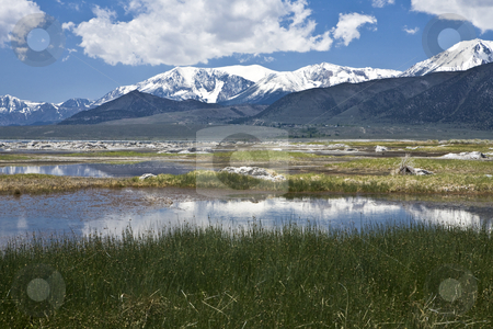 Mono Lake Pools and Grasses stock photo, Shallow pools along the north shore of Mono Lake reflect the snow-capped Sierra range in California by Bart Everett