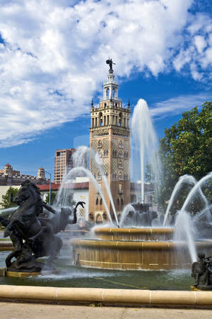J.C. Nichols Fountain in Kansas City stock photo, The Spanish architecture of Kansas City's Country Club Plaza forms a backdrop from one of the city's many fountains by Bart Everett