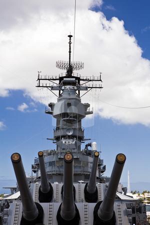 Guns of the Battleship USS Missouri stock photo, View from the foreward main deck of the historic battleship USS Missouri, anchored at Pearl Harbor. by Bart Everett