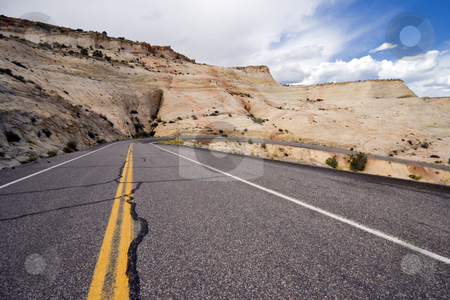 Utah Highway 12 stock photo, Utah Highway 12 winds its way through Grand Staircase - Escalante National Monument under stormy skies by Bart Everett