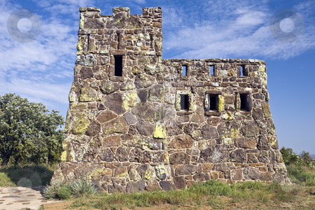 Coronado Castle stock photo, Stone structure built on a hilltop near Lindsborg, Kansas, as a WPA project by Bart Everett