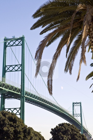 Vincent Thomas Bridge, Los Angele Harbor, Vertical stock photo, Vincent Thomas Bridge soars over channel between San Pedro district of Los Angeles and Terminal Island by Bart Everett