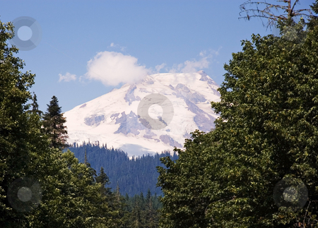 Snow Capped Volcanic Mountain stock photo, Beautiful Mt. Baker in Washington State is a gorgeous snow capped volcanic mountain.  Shot on a beautiful sunny day with some cloud wisps blowing by the top. by Valerie Garner
