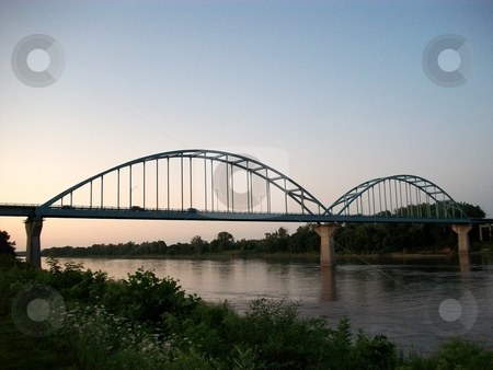 The Blue Bridge stock photo, The Blue Bridge - still in use today , providing passage over the Missouri river . by JJ Havens