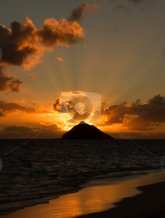 Tropical sunrise stock photo, Tropical sunrise at Lanikai Beach, Oahu, Hawaii. by Peter Van veldhoven