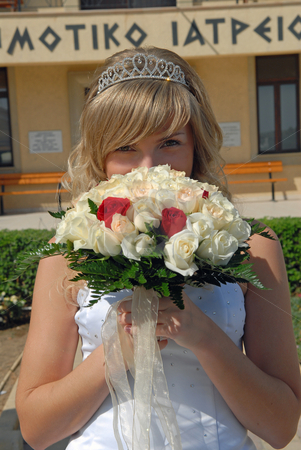 Happy Bride stock photo, Beautiful blond Bride with the wedding flowers.  Was shot 24.10.2007 at Cyprus. by Sergey Kuznetsov