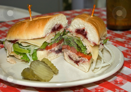 Turkey Cranberry Sandwich stock photo, This turkey cranberry sandwich is piled high with veggies with pickles served on a white plate and red checkerboard tablecloth. by Valerie Garner