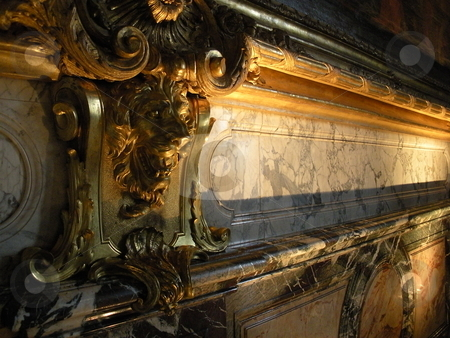 Elegant detail stock photo, Marble and carved wood mantle by Cora Reed