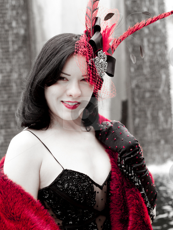 Pretty asian girl stock photo, Pretty woman in red and black by Cora Reed
