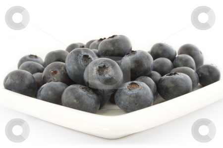 A plate with fresh blueberries stock photo, A plate with fresh blueberries isolated on white background, with shadow. by Natalia Banegas