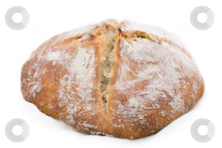 White wheat bread stock photo, Fresh-baked white wheat bread, isolated on white background. by Natalia Banegas