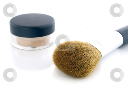 Make-up brush and powder jar stock photo, A set of a big makeup brush and a jar of mineral foundation.  Isolated on white background, with shadow. by Natalia Banegas