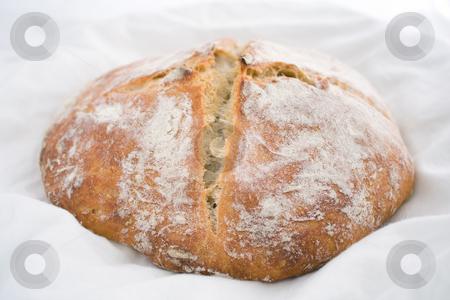 White wheat bread stock photo, Fresh-baked white wheat bread on white cotton cloth. by Natalia Banegas