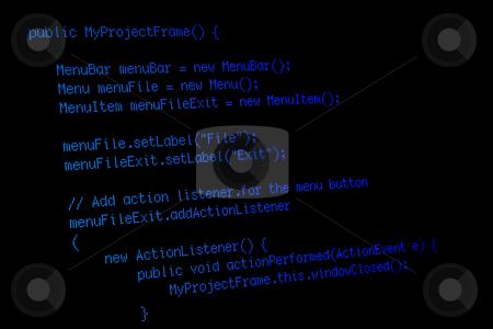 Program code on black screen stock photo, Part of a java program on black computer screen by Natalia Banegas