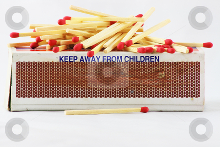 Match Box stock photo, A match box with a warning to keep away from children by Jim Larranaga