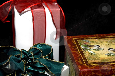 Three Christmas Packages stock photo, This still life is three Christmas or holiday gifts, one winter scene, one with a red bow another with a green bow and white package on a black background. by Valerie Garner