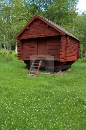 Old Red Log House stock photo, A old red wooden log house, summer or spring time in sweden. by Peter Soderstrom
