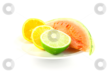 Watermelon with Lemon, Lime and Orange stock photo, Slice of juicy watermelon with lemon, lime and orange halves on a white background by Keith Wilson