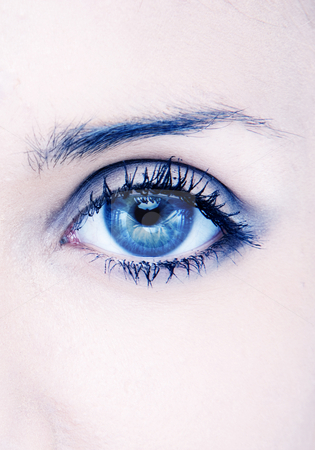 Beauty eye stock photo, Human macro beauty eye in blue by Piotr Stryjewski