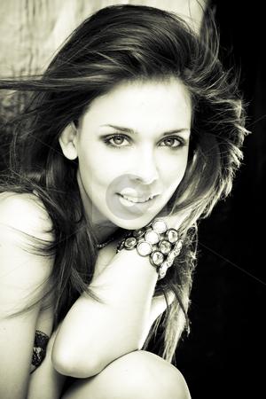 Sexy girl stock photo, Black & White portrait of the mysterious, beautiful, sexy, brunette girl with jewelery by Piotr Stryjewski