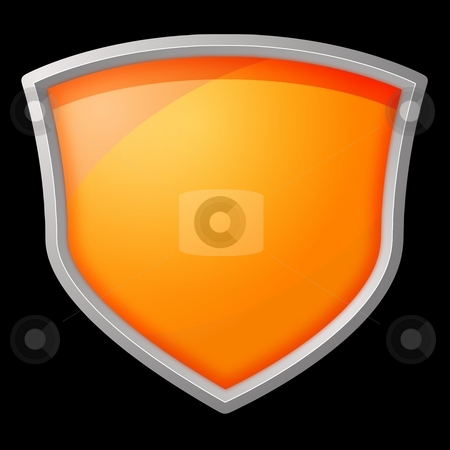 Shield stock photo, Orange shield with silver frame on black background by Henrik Lehnerer