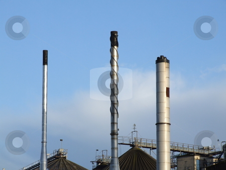 Blue Sky with Industrial Chimney Abstract stock photo, Blue Sky with Industrial Chimney Abstract by Stephen Lambourne