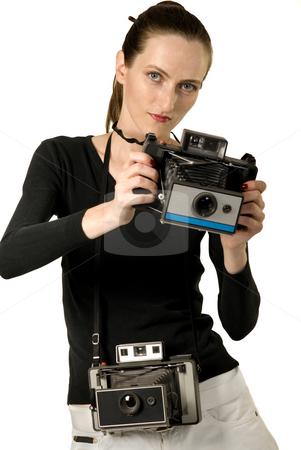 Vintage Cameras stock photo, Beautiful girl whit vintage cameras, retro photo, isolation on white by Desislava Draganova