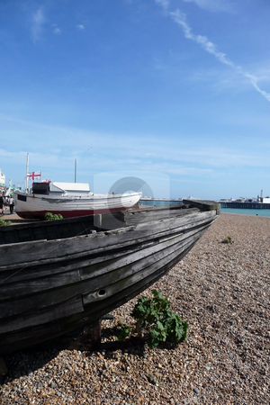 Old Boat In Brighton stock photo, An old boat rotting away on the Brighton coast. by Chris Harvey