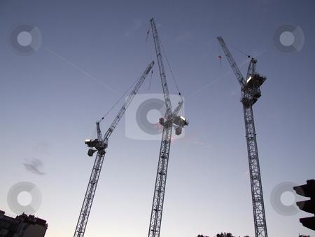 Building Cranes Blue Sky stock photo, Building Cranes Blue Sky by Stephen Lambourne