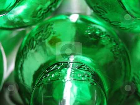 Green Glass Bottles Abstract stock photo, Green Glass Bottles Abstract by Stephen Lambourne